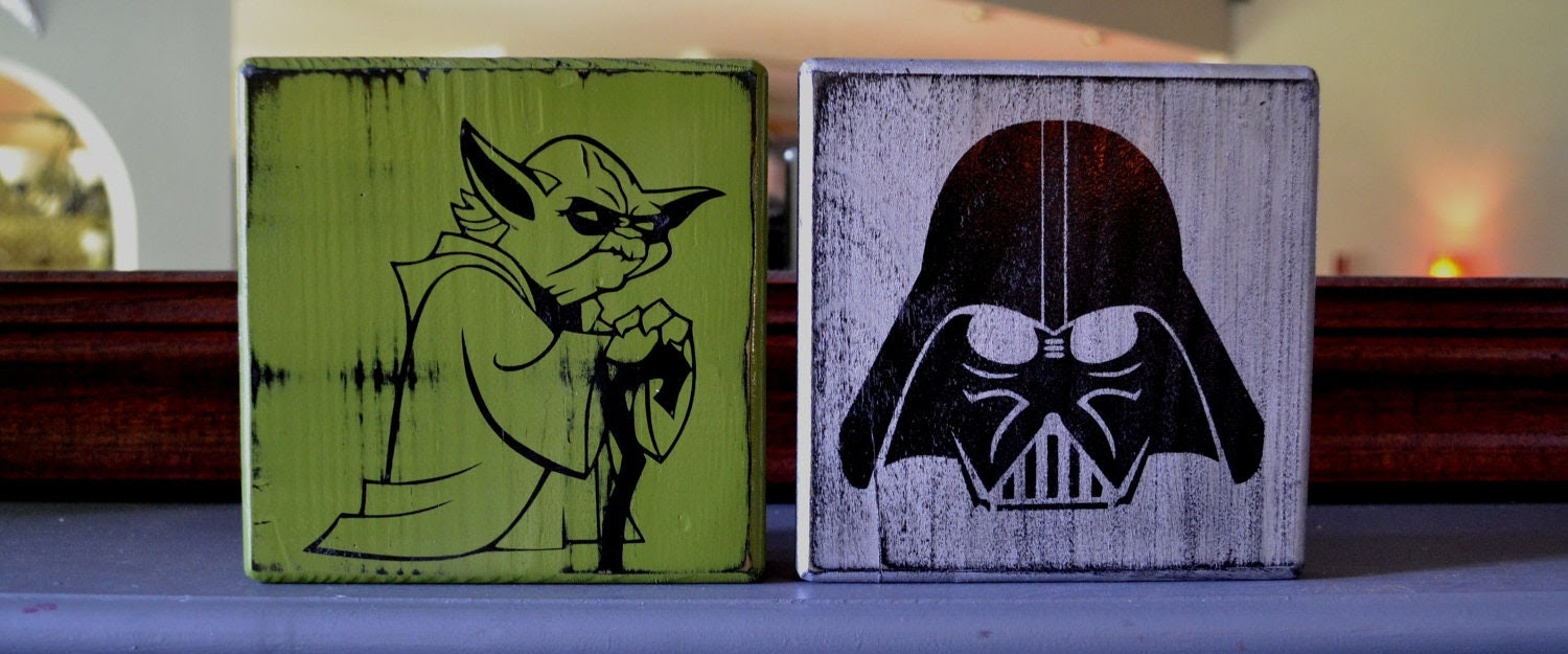 Yoda and Darth Vader Custom Wood Sign Man Cave Star by CSSDesign