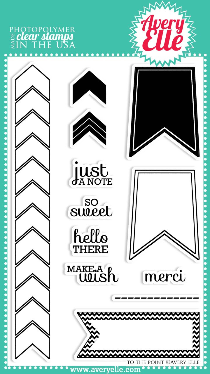"""We love the bold graphic design of our 4"""" x 6"""" To The Point clear photopolymer stamp set.  Use the border strip to create a bold background pattern or the flags to hold the cute sentiments."""