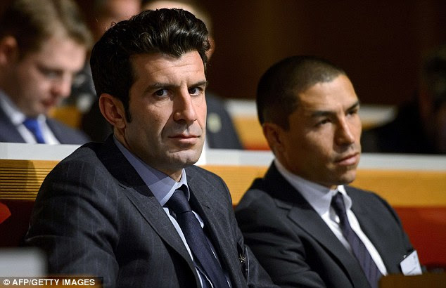 Watching brief: Figo, Inter Milan's ambassador, could see his club face Tottenham in the last 16