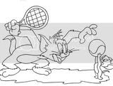 Tom and Jerry coloring sheets of them playing tennis. I guess they're friends after all!