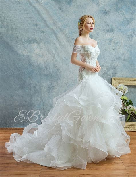 Cheap 2019 Ball Gown Off the shoulder Tulle,Lace Wedding