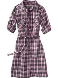 Women: Women's Plaid Belted Shirt Dresses - Brown Plaid