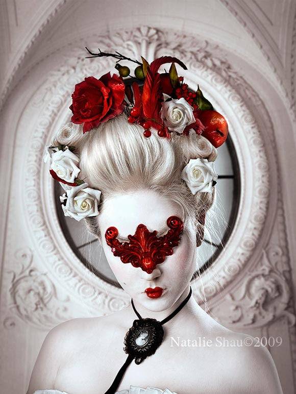 Natalie Shau, painting, dream, Flowers, Flesh, red, roses, white