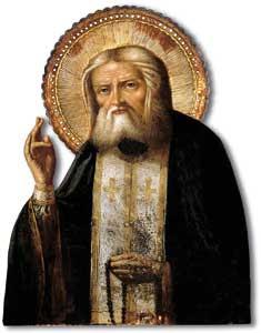 San Serafino di Sarov in un'icona russa del XIX secolo conservata  nella Biblioteca Nazionale di Parigi [© Scala]