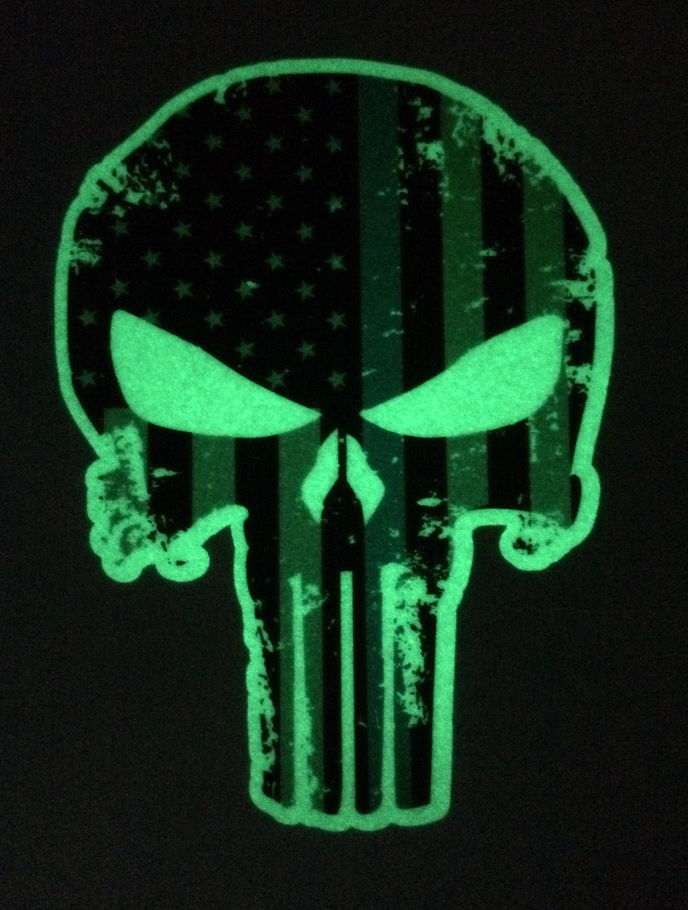 Glow In The Dark Tattered 5x4 Inch Subdued Us Flag Punisher Skull Decal With Thin Blue Line Empire Tactical Usa