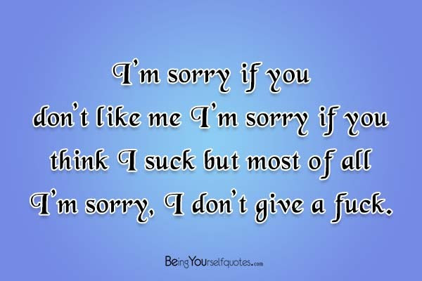 Im Sorry If You Dont Like Me Im Sorry Being Yourself Quotes