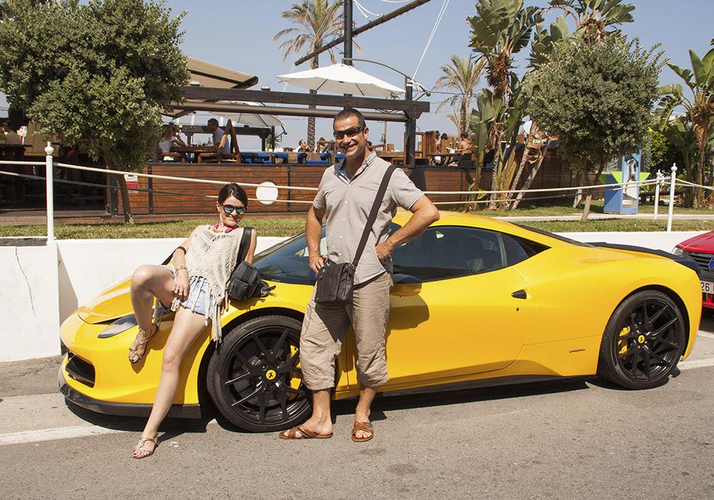 Andrés y yo en nuestro nuevo coche