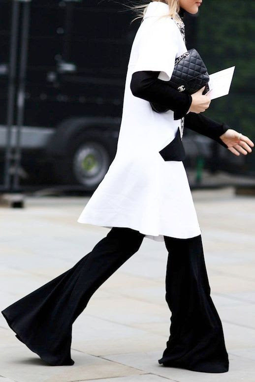 Le Fashion Blog Lfw Street Style Layers White Shirtdress Long Sleeve Tee Chanel Bag Black Flared Pants Via Refinery29