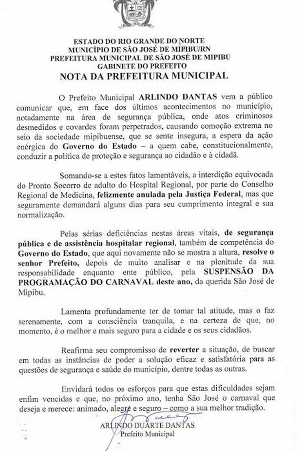 Comunicado sobre o cancelamento do carnaval foi enviado à imprensa pelo prefeito de São José de Mipibu (Foto: Cedida/Prefeitura de São José de Mipibu)