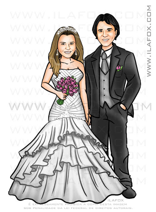 caricatura casal, noivos, corpo inteiro, colorido, caricatura proporcional by ila fox