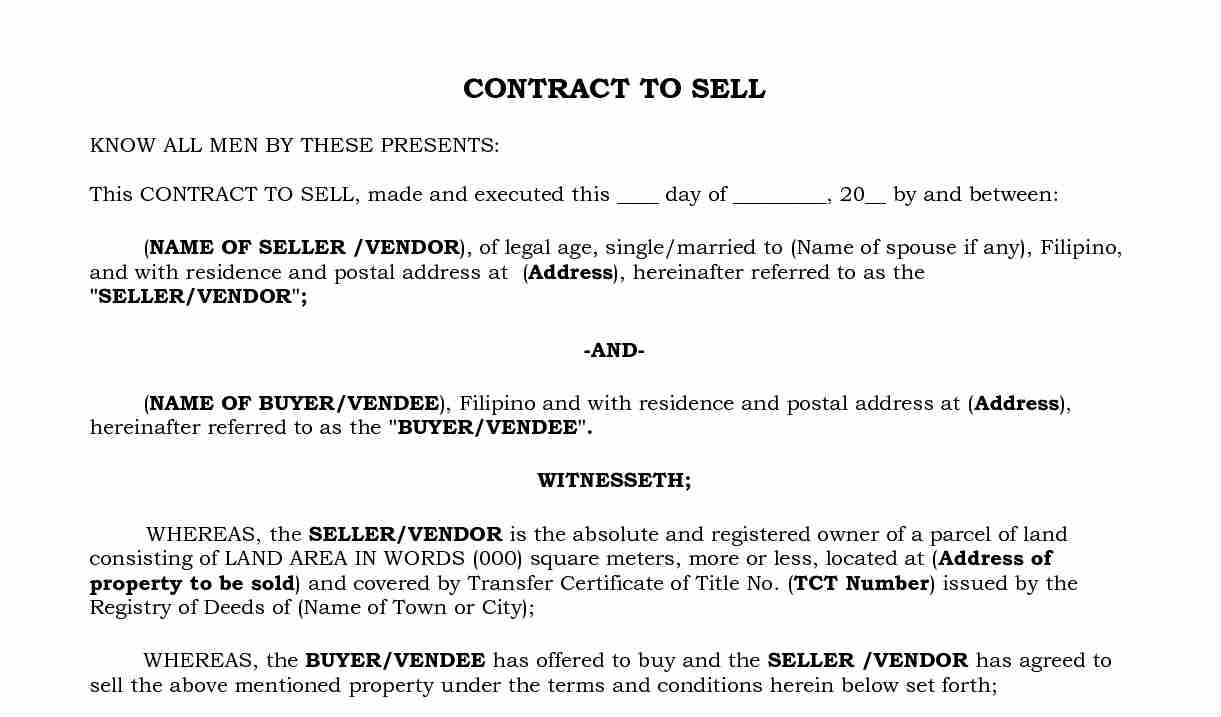 contract to sell