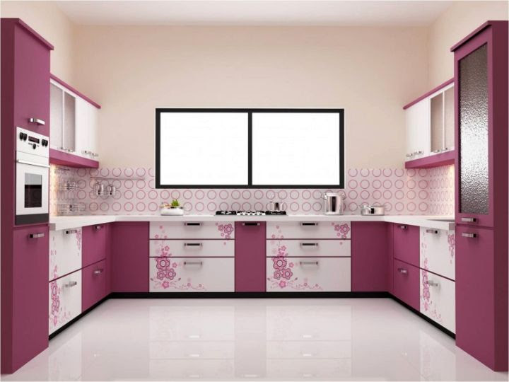 Modular Kitchen Designs U Shaped In Purple For Small Kitchens