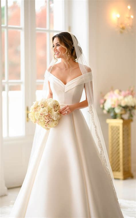 Simple Ballgown with Off the Shoulder Sleeves   Stella