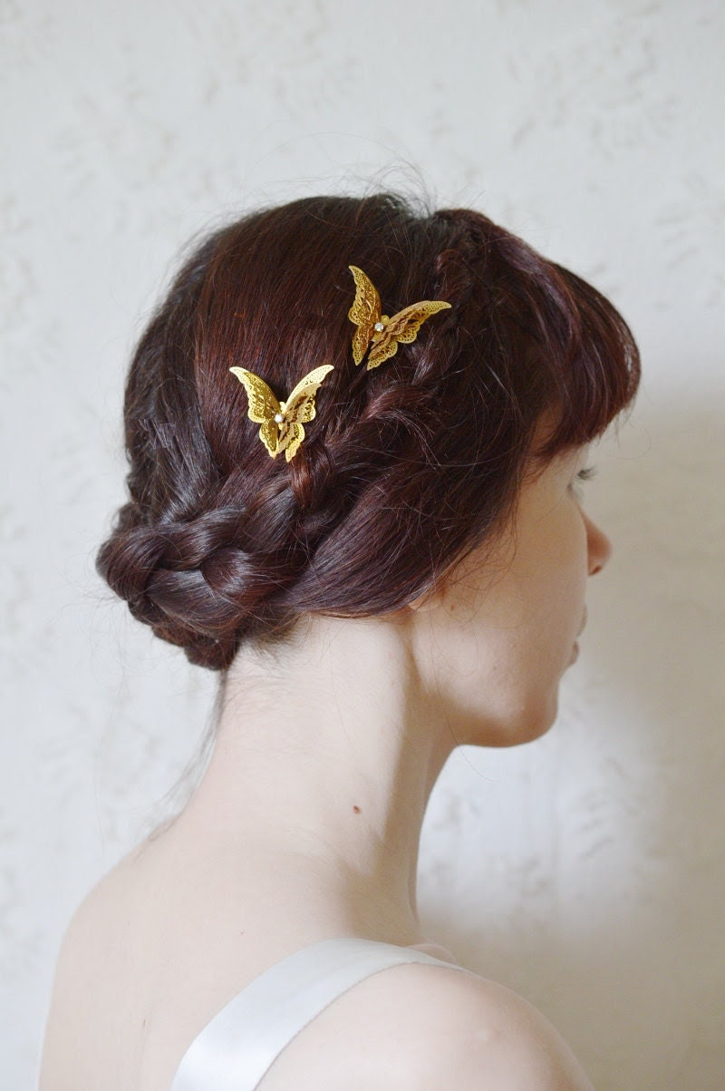 Princess of butterflys- brass butterfly gold wedding prom hair pin barrette hair pin