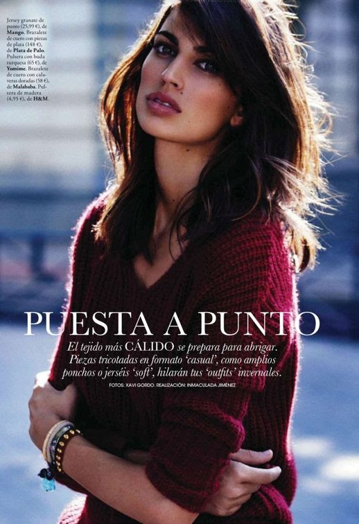 LE FASHION BLOG EDITORIAL ELLE ESPANA SPAIN PUESTA A PUNTO XAVI GORDO INMACULADA JIMENEZ BURGUNDY SWEATER KNIT DARK HAIR BRUNETTE LAYERED STACKED BRACELETS STUDS 1