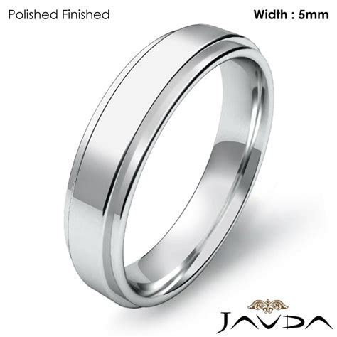 Wedding Band Flat Step Solid Ring Women Plain 5mm 14k