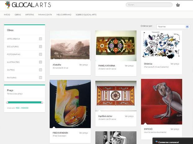 Site reúne obras de diferentes estilos e preços (Foto: Reprodução/Glocal Arts)