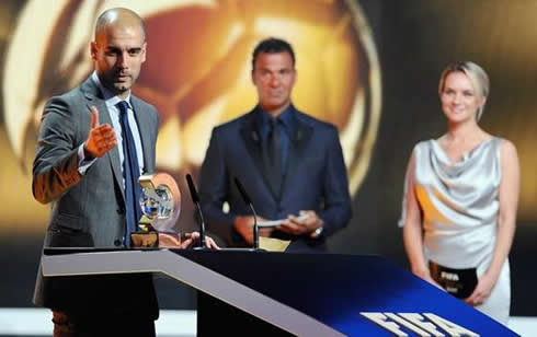 Guardiola dedicating the Best World Coach of the Year award to Tito Vilanova at the FIFA Balon d'Or 2011-2012 ceremony