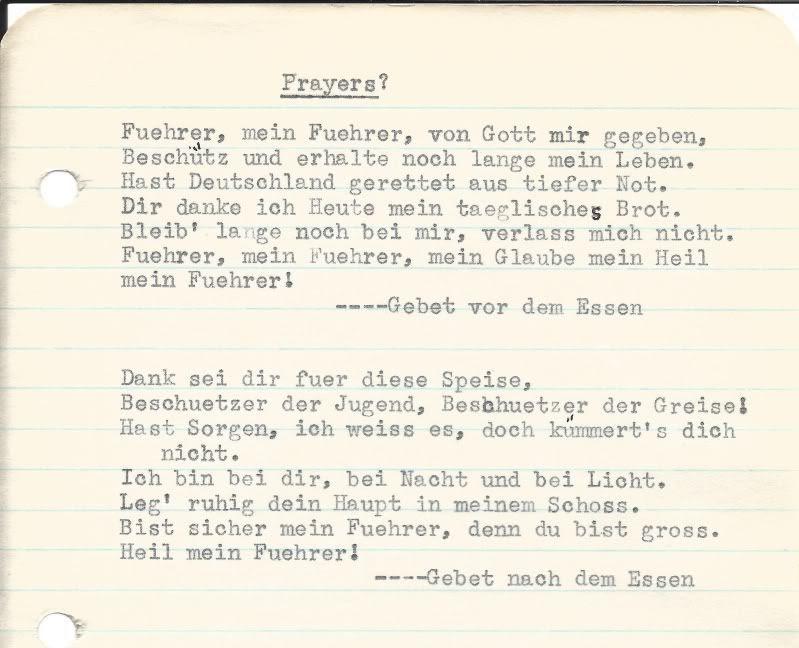 Al Glauser Mission Journal Prayers to Hitler