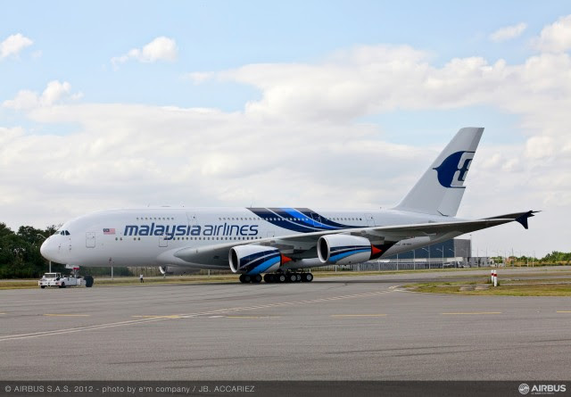 The first A380 for Malaysia Airlines (MAS) was unveiled today bearing its special celebration livery, ahead of entry-into-service next week on the Kuala Lumpur-London route. Image from Airbus.