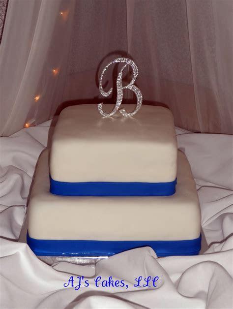 AJ's Cakes: White and Royal Blue Wedding Cake