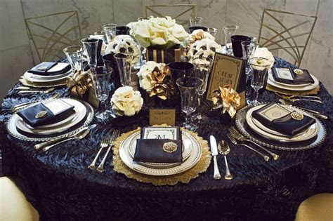 Great Gatsby navy and gold tablescape   Centerpieces in