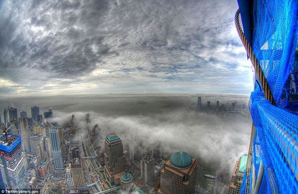 A foggy Manhattan...as seen from the 80th floor of 1 World Trade Center.