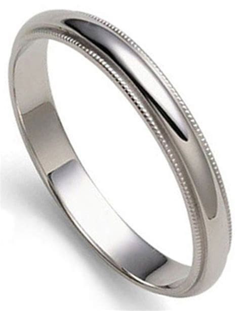 3mm PLATINUM Dome MILLGRAINED Women Wedding Band Ring 1