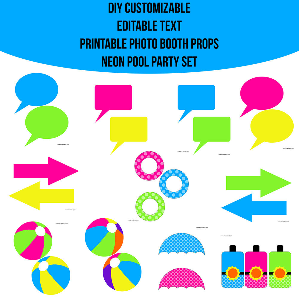 Instant Download Pool Party Neon Diy Customizable Editable Text Prop