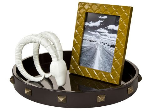 """Nate Berkus Decorative Ram's Head, Nate Berkus Quilted Lacquer 5""""x7"""" Picture Frame in Yellow, and Nate Berkus Round Studded Tray in Brown"""