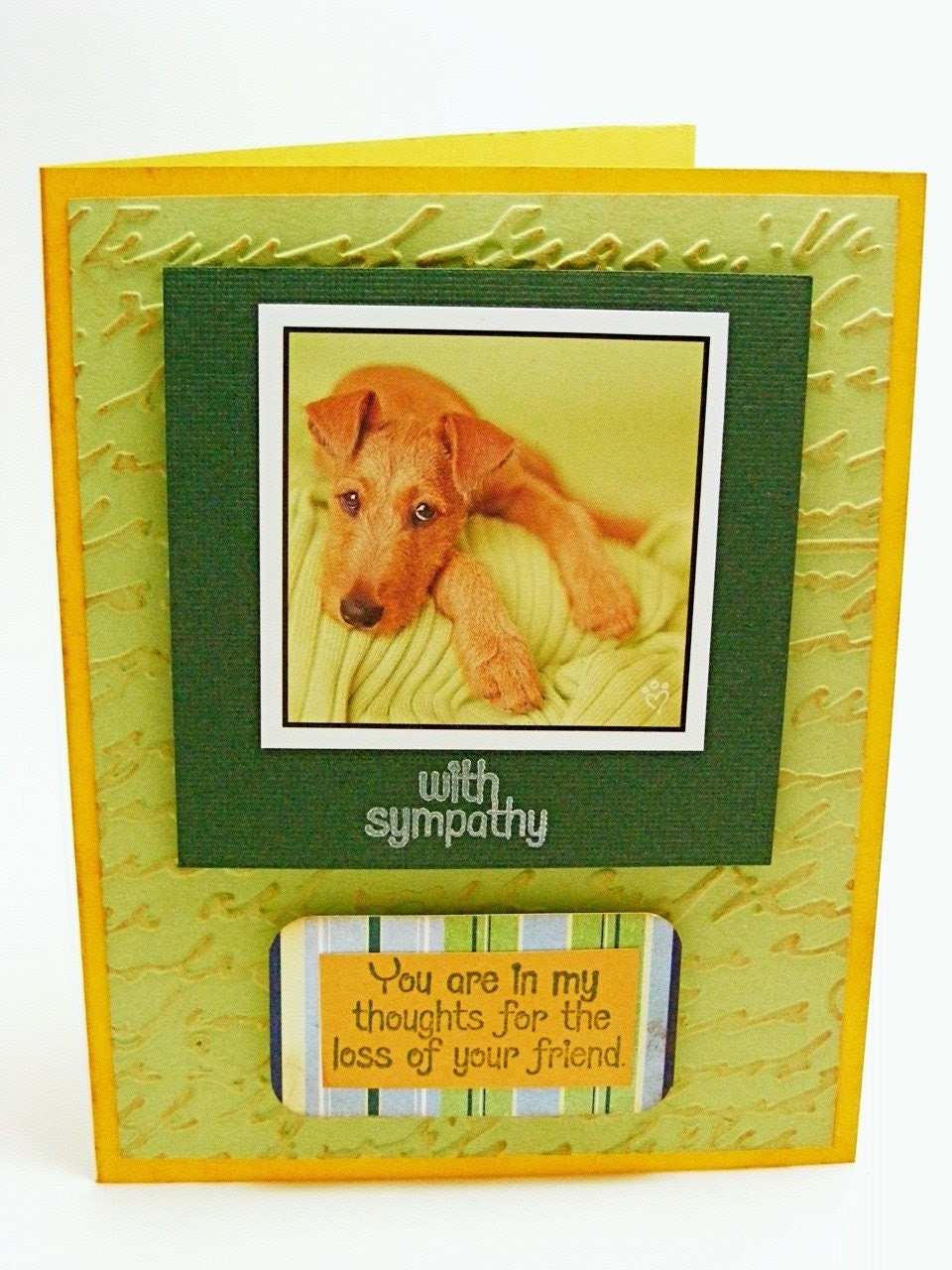 Handmade Loss of Dog Sympathy Pet Card - Eco Friendly