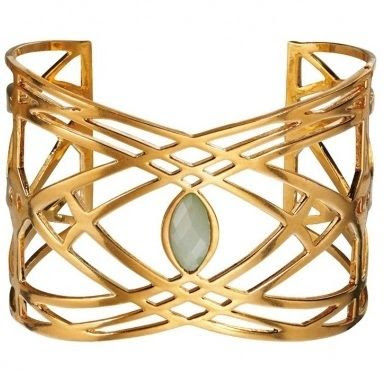 Fiorelli Gold Plated Green Stone Wide Open Bangle