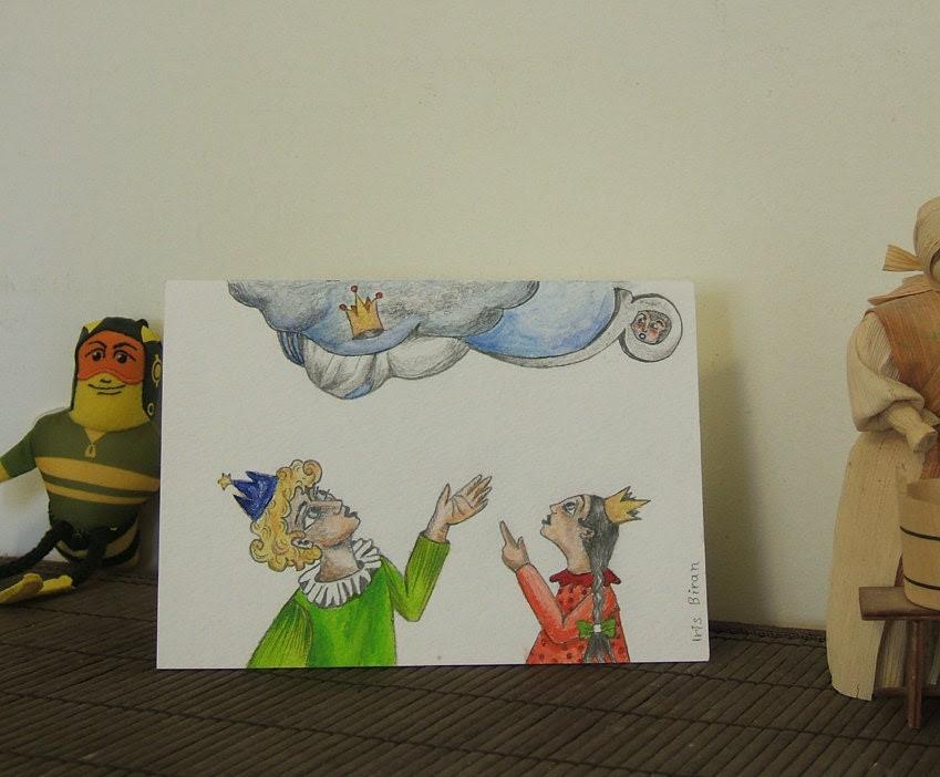 Original illustrated greeting card - Princes