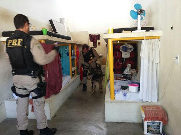 Agentes da Polícia Rodoviária Federal utilizaram até cães farejadores nas revistas feitas dentro do CDP de Apodi, na região Oeste potiguar (Foto: Márcio Morais/G1)