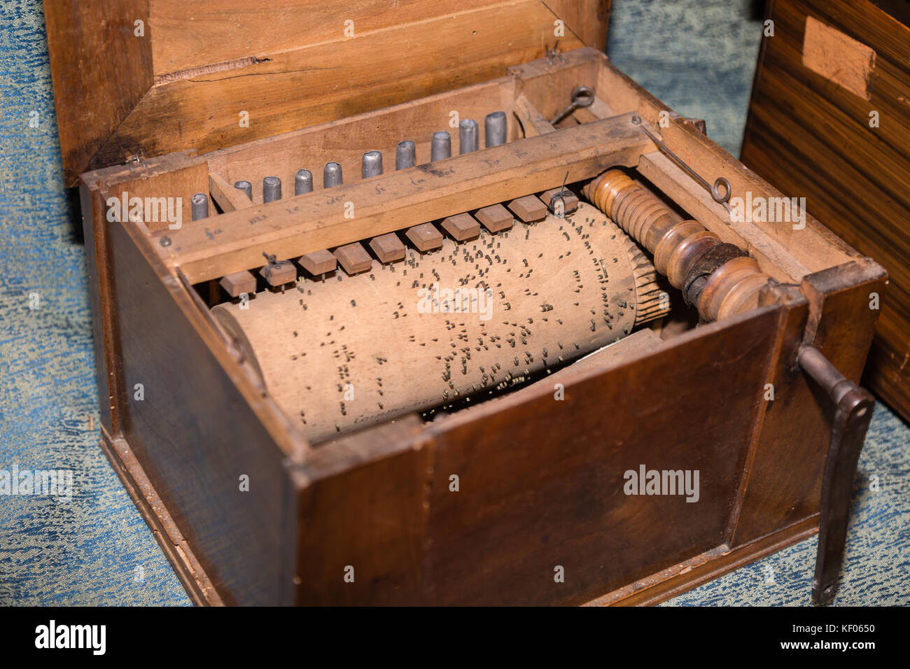 Detail Of Inner Parts Of Wooden Barrel Organ Stock Photo 164117996