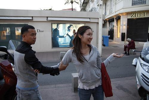 Ming Jin and Tomoko imitating the Dior ad
