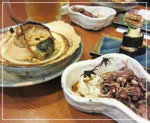 神田「鮨処夢春」にて、小鉢と焼き物。