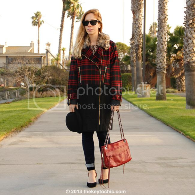 Merona leopard tee, Boohoo Boutique Alexa plaid jacket, Uniqlo skinny jeans, Rebecca Minkoff Swing bag, bowler hat from Target, and Luichiny Law Rence heels