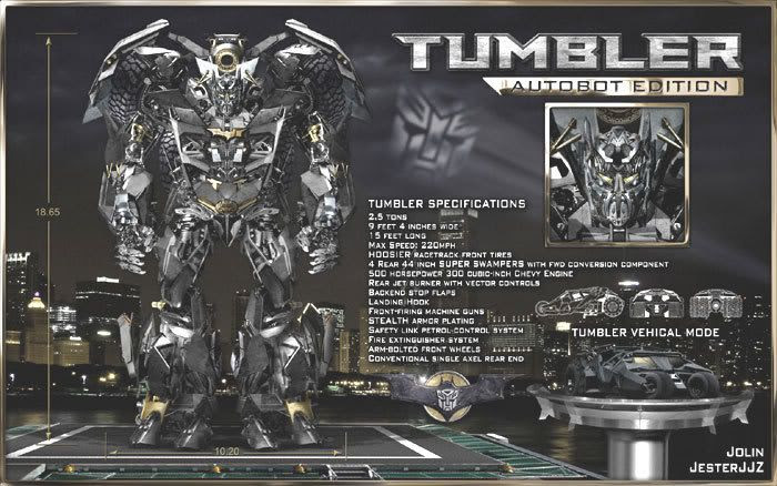 Fan art depicting the Tumbler, from BATMAN BEGINS and THE DARK KNIGHT, as a Transformer.