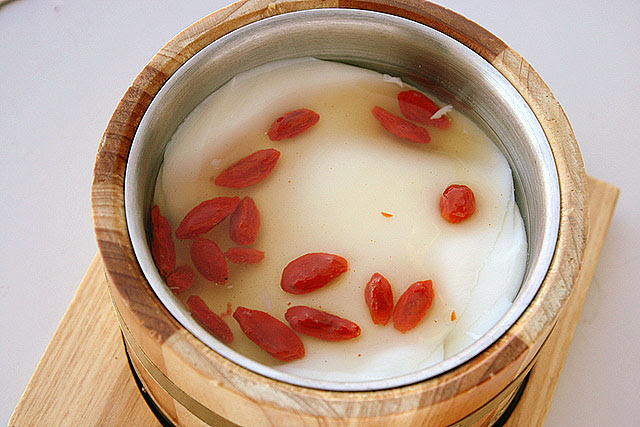 Homemade Bean Curd with Wolfberries