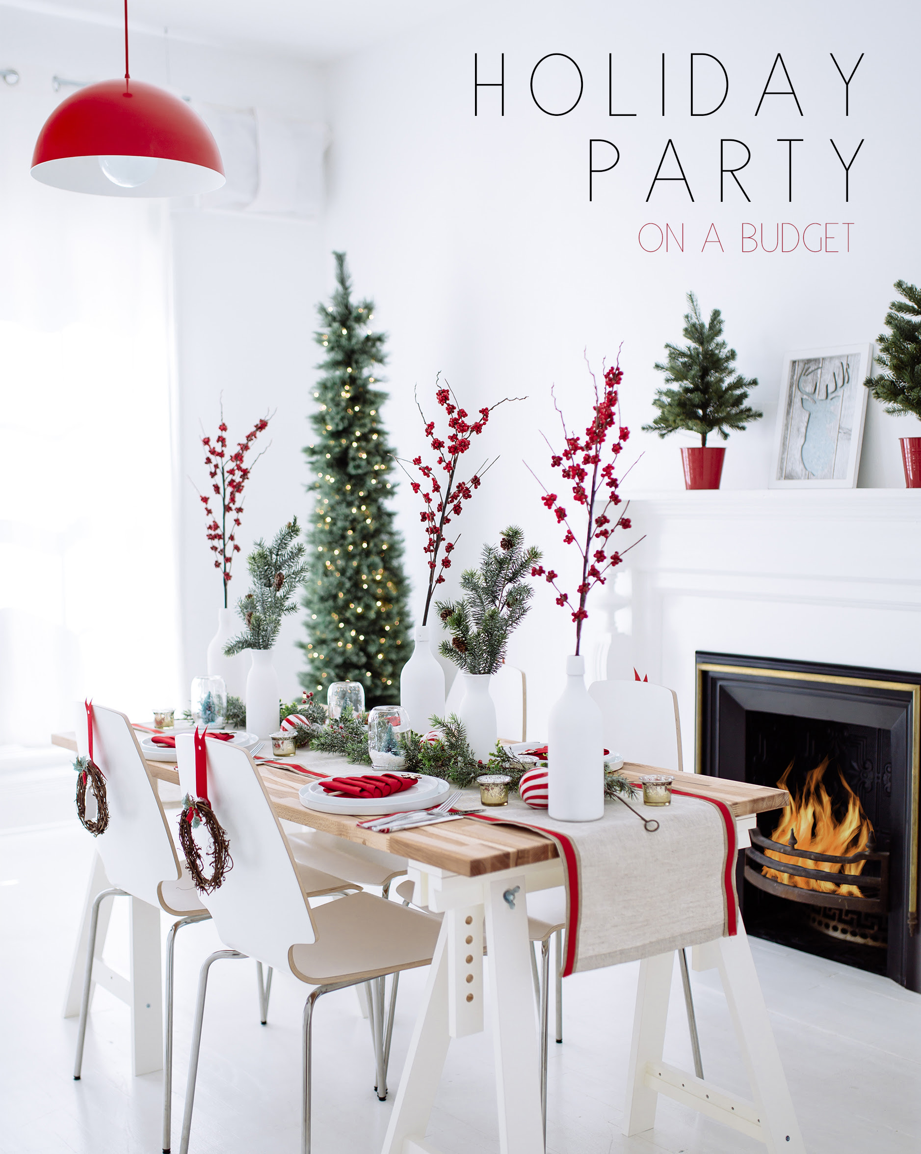 Holiday Party Decor Red White Wreaths Bright Bazaar By Will Taylor