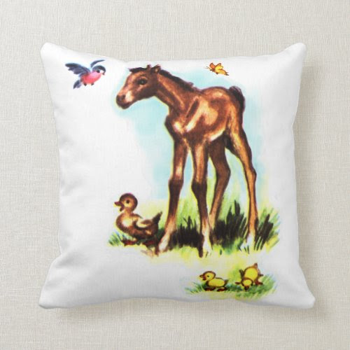Cute Horse Pony Baby Foal Throw Pillow