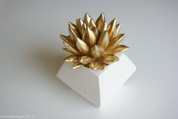 Gold Succulent Sculpture, White Modern Faceted Geometric Decahedron Container, Tabletop Centerpiece, Desktop Accessory