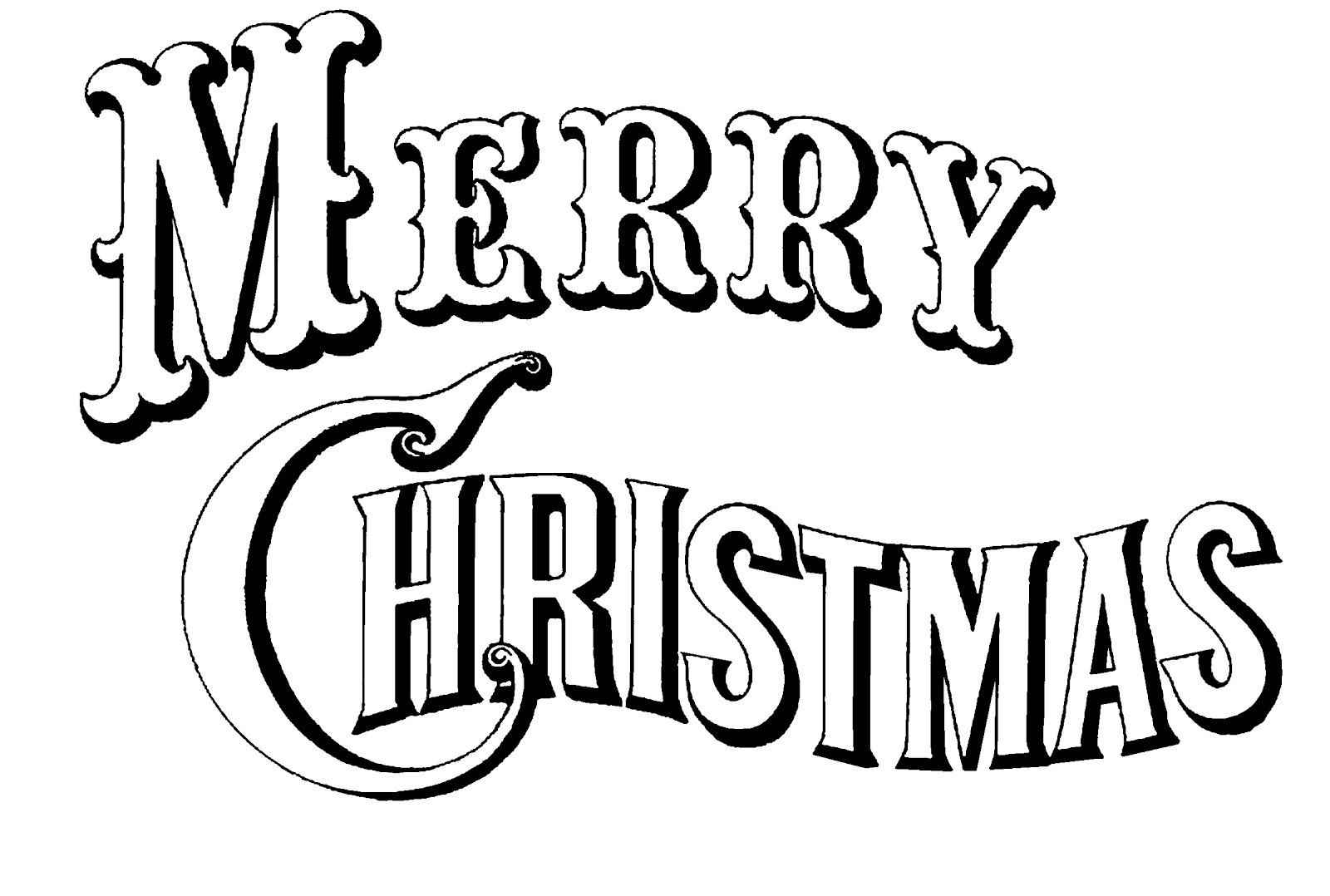 Merry Christmas Clipart Black And White | Clipart Panda - Free Clipart ...
