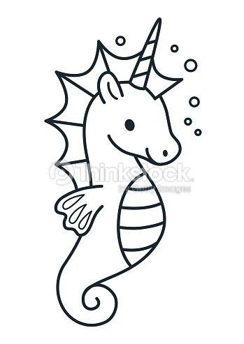 Caballo De Mar Lindo Unicornio Simple Dibujos Animados Para Colorear