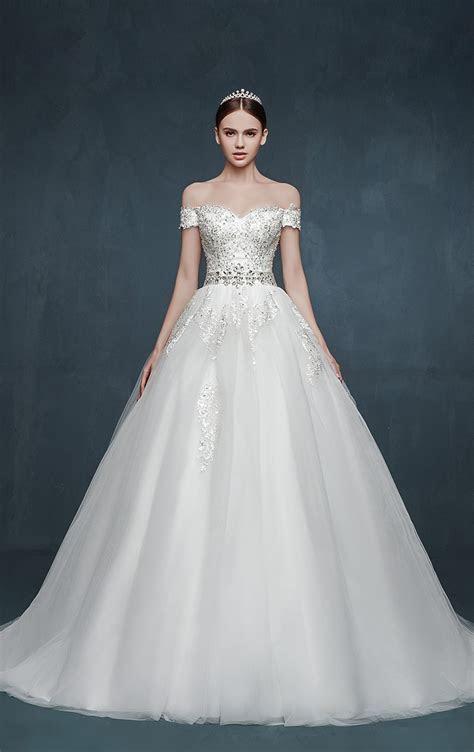 Royal Off the Shoulder Princess Ball Gown Wedding Dresses