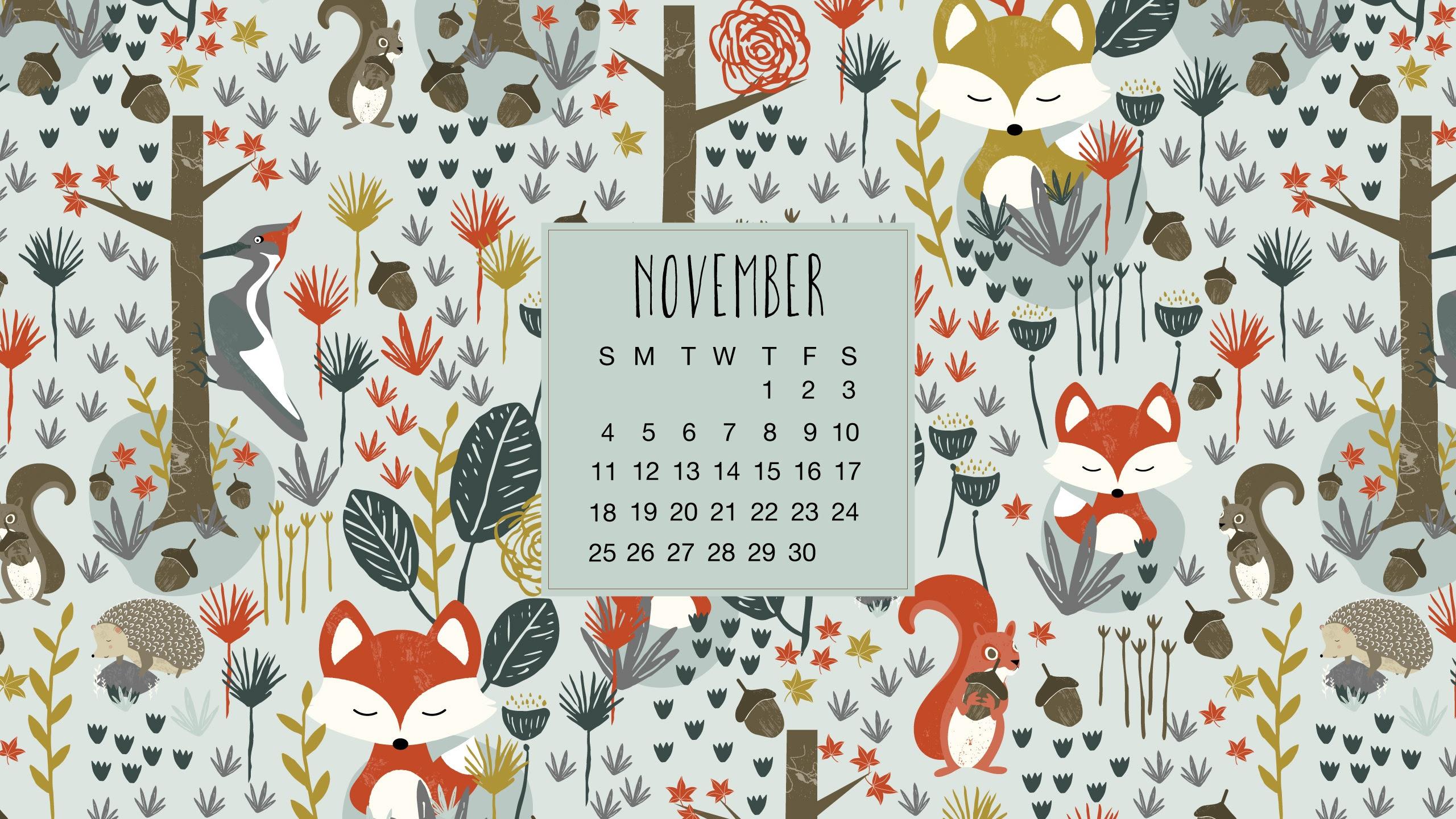 Calendrier novembre 2018 – November 2018 calendar wallpaper – La bibliothèque de Sev