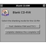 Blanking a CD-RW.