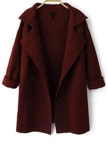 Wine Red Lapel Long Sleeve Loose Knit Cardigan