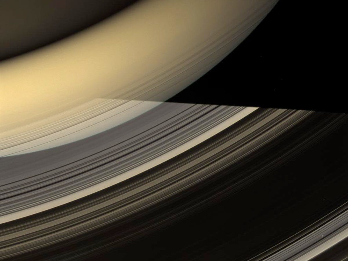 Cassini also caught stunning close-ups of Saturn's rings, which are now thought to be millions of years old.